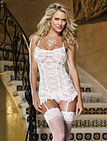 cheap -Women's Lace Bow Mesh Suits Nightwear Jacquard Solid Colored Embroidered White S M L