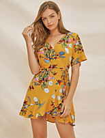 cheap -Women's A-Line Dress Short Mini Dress - Half Sleeve Floral Ruffle Print Summer V Neck Casual 2020 Yellow S M L XL XXL