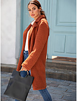 cheap -Women's Fall & Winter Coat Long Solid Colored Daily Basic Camel Beige S M L