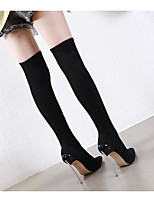 cheap -Women's Boots Stiletto Heel Pointed Toe Casual Basic Daily Solid Colored Elastic Fabric Over The Knee Boots Walking Shoes Black / Sock Boots