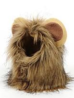 cheap -Dog Cat Halloween Costumes Bandanas & Hats Lion Unique Design Cool Christmas Party Dog Clothes Breathable Brown Costume Plush S M L