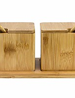cheap -Double Dipper Two Salt Pepper Boxes With Spoons And Tray Bamboo