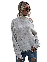 cheap -Women's Basic Hollow Out Solid Color Plain Pullover Long Sleeve Sweater Cardigans Turtleneck Spring Fall Beige