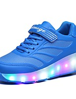 cheap -Boys' / Girls' Flats LED Shoes / Halloween / Christmas Polyester / PU Glitter Crystal Sequined Jeweled Big Kids(7years +) Walking Shoes Luminous Black / Blue / Pink Spring / Fall / Rubber
