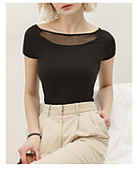 cheap -Women's T-shirt Solid Colored Off Shoulder Tops Skinny Cotton Sexy Basic Top White Black