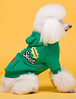 cheap -Dog Coat Hoodie Letter & Number Casual / Daily Cute Casual / Daily Winter Dog Clothes Warm Black Red Green Costume Cotton S M L XL XXL XXXL