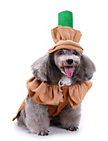 cheap -Dog Halloween Costumes Costume Shirt / T-Shirt Pumpkin Vintage Cosplay Christmas Party Dog Clothes Breathable Coffee Costume Polyester S M L XL