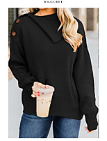 cheap -Women's Basic Stripe Striped Pullover Long Sleeve Sweater Cardigans Crew Neck Fall Winter Black Red Beige