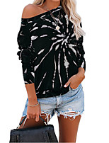 cheap -Women's Going out T-shirt Tie Dye Long Sleeve Print Round Neck Tops Basic Basic Top Black Blue Purple