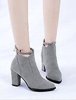 cheap -Women's Boots Pumps Pointed Toe Casual Basic Daily Buckle Solid Colored Suede Booties / Ankle Boots Walking Shoes Black / Beige / Gray