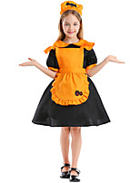 cheap -Maid Costume Dress Cosplay Costume Outfits Kid's Girls' Cosplay Halloween Halloween Festival / Holiday Polyester Yellow Easy Carnival Costumes / Apron / Headwear / Apron / Headwear