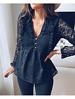 cheap -Women's Blouse Floral Long Sleeve V Neck Tops Cotton Basic Top Black