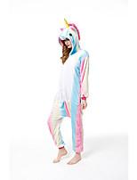 cheap -Adults' Kigurumi Pajamas Unicorn Onesie Pajamas Flannelette White+Blue Cosplay For Men and Women Animal Sleepwear Cartoon Festival / Holiday Costumes