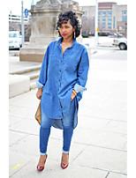 cheap -Women's Blouse Shirt Solid Colored Long Sleeve Pocket Denim Shirt Collar Tops Loose Basic Basic Top Blue
