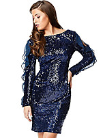 cheap -Women's A-Line Dress Knee Length Dress - Long Sleeve Solid Color Backless Patchwork Zipper Winter Sexy Party Club 2020 Blue S M L XL / Print
