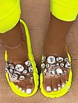 cheap -Women's Sandals Flat Heel Open Toe Casual Daily Rhinestone Solid Colored PVC Yellow / Fuchsia / Orange
