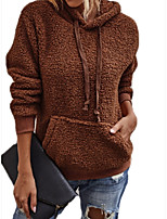 cheap -Women's Daily Pullover Hoodie Sweatshirt Solid Color Plain Front Pocket Casual Hoodies Sweatshirts  Camel Brown Beige
