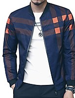 cheap -men's bomber jacket casual slim fit printed fall winter outerwear coat cool blue