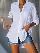 cheap -Women's Shirt Solid Colored Long Sleeve Shirt Collar Tops Cotton Basic Basic Top White Blue Yellow