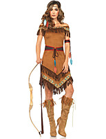 cheap -Indian Girl Dress Cosplay Costume Outfits Adults' Women's Cosplay Halloween Halloween Festival / Holiday Polyester Brown Women's Easy Carnival Costumes / Belt / Headwear / Belt / Headwear