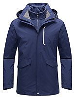 cheap -Men's Hiking Fleece Jacket Winter Outdoor Solid Color Thermal Warm Windproof Fleece Lining Breathable Winter Jacket Fleece Full Length Hidden Zipper Hunting Fishing Climbing Black / Blue