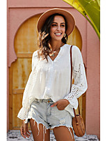 cheap -Women's Plus Size Blouse Solid Colored Long Sleeve Cut Out V Neck Tops Loose Basic Basic Top White Black Light Blue