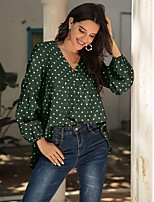 cheap -Women's Blouse Polka Dot Long Sleeve V Neck Tops Basic Basic Top Blushing Pink Green Navy Blue