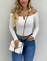 cheap -Women's T-shirt Solid Colored Long Sleeve Off Shoulder Tops Basic Top Red Dark Gray Beige