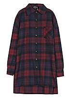cheap -Women's Blouse Shirt Plaid Check Long Sleeve Shirt Collar Tops Loose Basic Basic Top Red
