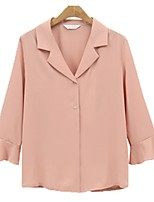 cheap -Women's Blouse Shirt Solid Colored Long Sleeve Ruffle V Neck Tops Loose Basic Basic Top White Blushing Pink
