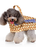 cheap -Dog Halloween Costumes Costume Shirt / T-Shirt Plaid / Check Basket Casual / Sporty Cute Christmas Party Dog Clothes Breathable Yellow Costume Polyester S M L XL