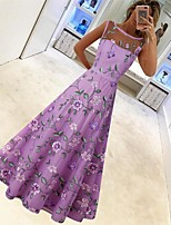 cheap -A-Line Floral Maxi Wedding Guest Formal Evening Dress Illusion Neck Sleeveless Floor Length Tulle with Embroidery 2020