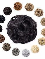 cheap -synthetic hair bun scrunchy messy donut wavy updo elastic scrunchie medium size wedding hair pieces bridal hairpiece easy bun updos for women kids 1pcs 30g #4 dark brown