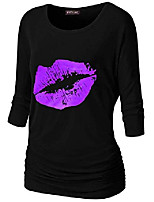 cheap -women's lips 3/4 sleeve boat neck dolman top with side elastic s-5xl plus size tops tees blouses (rblack=purple, 3xl)