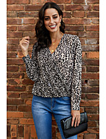 cheap -Women's Blouse Leopard Polka Dot Long Sleeve Patchwork Print V Neck Tops Loose Basic Basic Top Black Red Blushing Pink