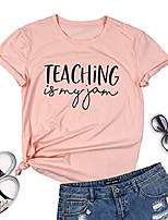 cheap -teaching is my jam shirt women funny teacher t shirts letter print casual short sleeve tees tops pink
