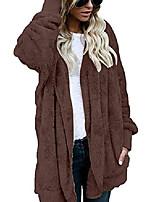 cheap -womens fuzzy winter open front cardigan sherpa fleece jacket hooded coat outerwear (small, coffee)