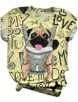 cheap -Women's T-shirt Dog Cartoon Letter Print Round Neck Tops Basic Basic Top Yellow