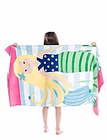 cheap -kids beach towel, 31 x 63 inch large bath towel blanket for travel, swimming, camping, and picnic & #40;red striped shark& #41;