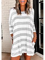 cheap -Women's T Shirt Dress Tee Dress Knee Length Dress - Long Sleeve Striped Print Summer Casual Loose 2020 White S M L XL XXL 3XL