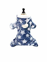 cheap -dog coat, star moon print puppy dog fleece warm winter coat jumpsuit pet hooded pajamas blue