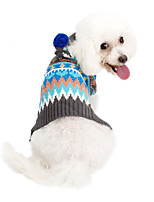 cheap -Dog Coat Sweater Color Block Casual / Daily Cute Casual / Daily Winter Dog Clothes Warm Blue Pink Costume Polyster XS S M L XL XXL