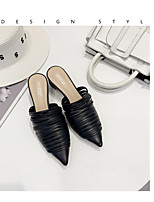 cheap -Women's Heels Pumps Pointed Toe Daily Faux Leather Booties / Ankle Boots Black