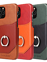 cheap -Case For iPhone12 Card Holder Shockproof Ring Holder Back Cover Solid Colored PU Leather