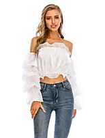 cheap -Women's Blouse Solid Colored Long Sleeve Ruffle Patchwork Off Shoulder Tops Puff Sleeve Sexy Basic Top White