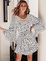 cheap -Women's A-Line Dress Short Mini Dress - Long Sleeve Polka Dot Print Summer Casual Elegant Daily 2020 White S M L XL