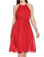 cheap -Women's Chiffon Dress Knee Length Dress - Sleeveless Solid Color Spring Summer Sexy 2020 Red S M L XL XXL