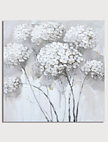 cheap -Hand-Painted White Flowers Abstract Paintings Canvas Art  Painting Abstract Acrylic Painting Modern Art Textured Art  with Stretcher Ready to Hang With Stretched Frame