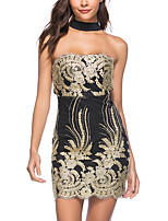 cheap -Women's A-Line Dress Short Mini Dress - Sleeveless Floral Backless Embroidered Summer Strapless Sexy Party Club 2020 Gold S M L XL XXL
