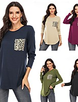 cheap -Women's Blouse Shirt Leopard Solid Colored Cheetah Print Long Sleeve Pocket Round Neck Tops Cotton Basic Basic Top Black Blue Army Green